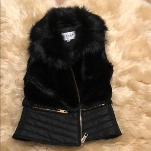 Guess black faux leather vest